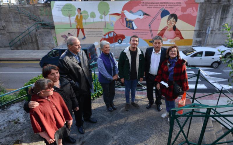 Roteiro guiado por Ana Acuña e Fina Casalderrey na inauguración do mural María Victoria Moreno