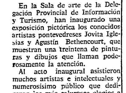 Nova sobre a exposición de Jovita Iglesias