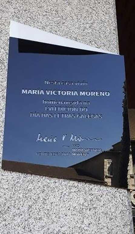 Placa na casa de María Victoria Moreno