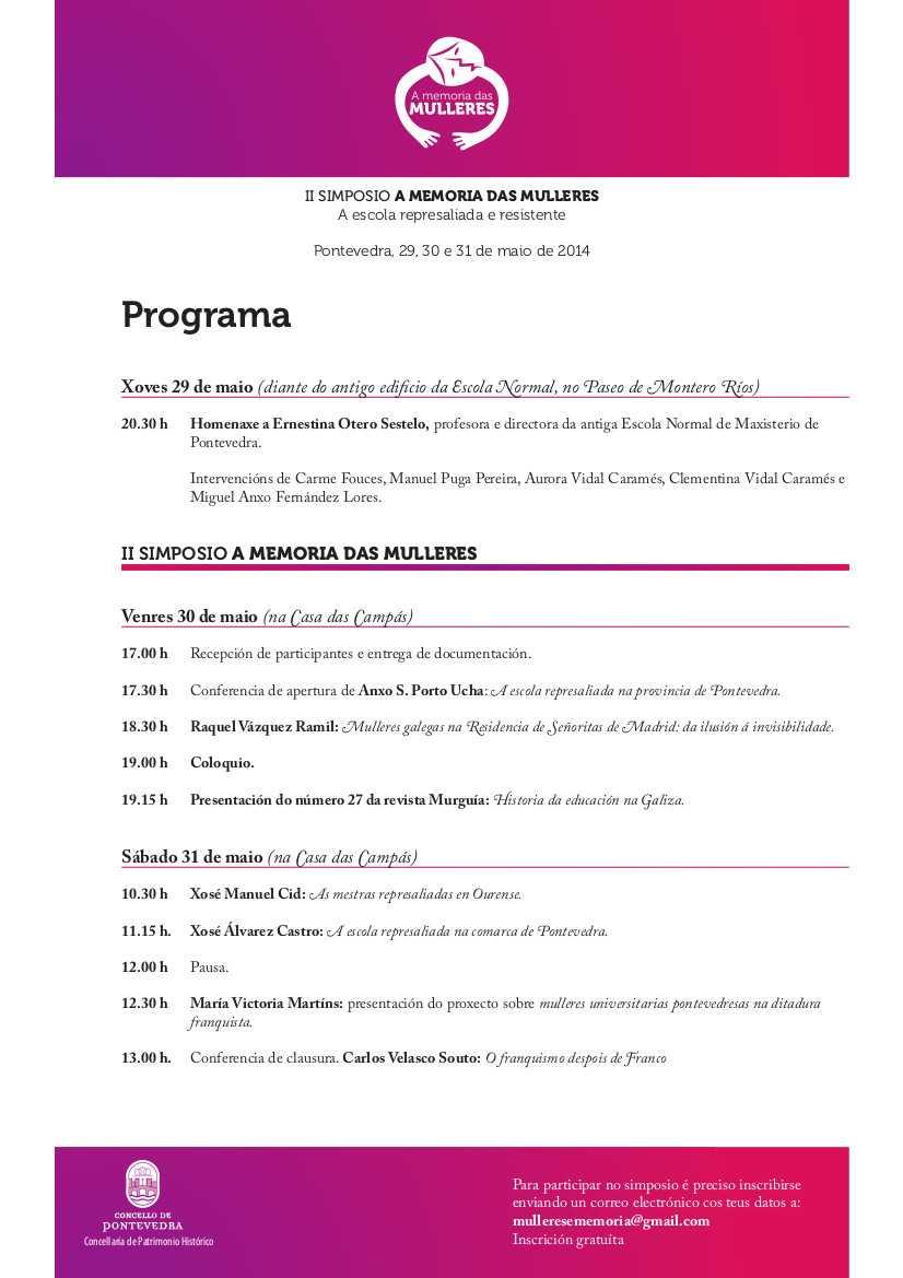 "Pontevedra dedica o II Simposio A Memoria das mulleres á ""escola represaliada e resistente"""