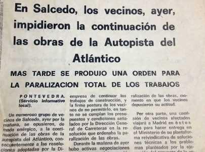 Nova sobre os boicots en Salcedo contra a Autoestrada do Atlántico