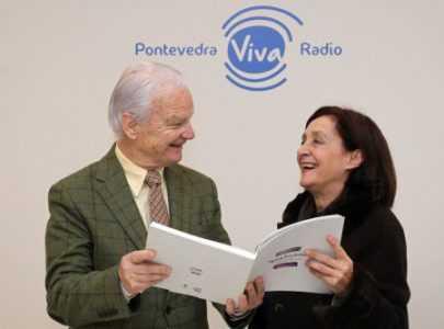 Maria Xose Lopez Escudeiro e con Cesar Novoa en Pontevedra Viva Radio