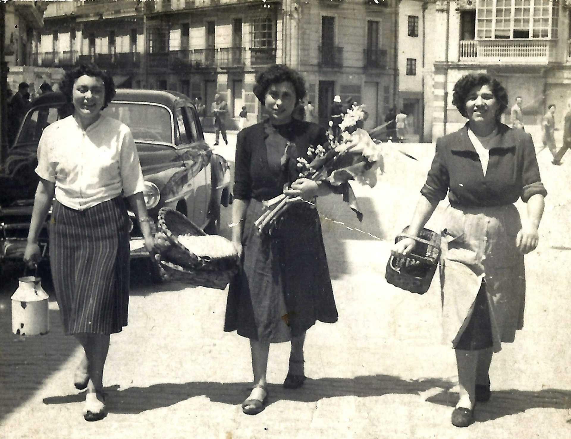 Vendedoras na praza de Pontevedra