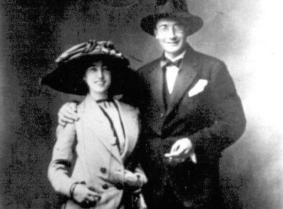 Imaxe da voda de Virxinia e Castelao en 1912. Fotografía cedida pola asociación Vagalumes
